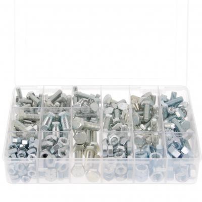 Krabička s 800 šrouby se šestihrannou hlavou + matice M4-M5-M6 ocel 8.8 pozinkovaná bílá Din 933