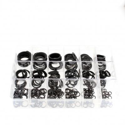 Krabička s různými vnějšími pojistnými kroužky černá ocel Din 471